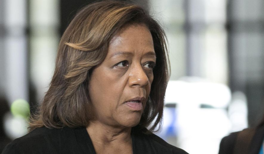 FILE - In this Oct. 13, 2015, file photo, former Chicago Public Schools CEO Barbara Byrd- Bennett speaks before leaving federal court in Chicago, after she pleaded guilty to helping steer $23 million in no-bid contracts to education firms for $2.3 million in kickbacks and bribes while working for CPS. A federal judge in Chicago is scheduled to sentence Byrd-Bennett Friday, April 28, 2017. (Ashlee Rezin/Sun-Times Media via AP, File)