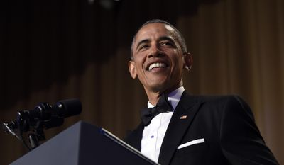 Former President Barack Obama speaks at the annual White House Correspondents' Association dinner at the Washington Hilton in Washington, April 30, 2016. (AP Photo/Susan Walsh) ** FILE **