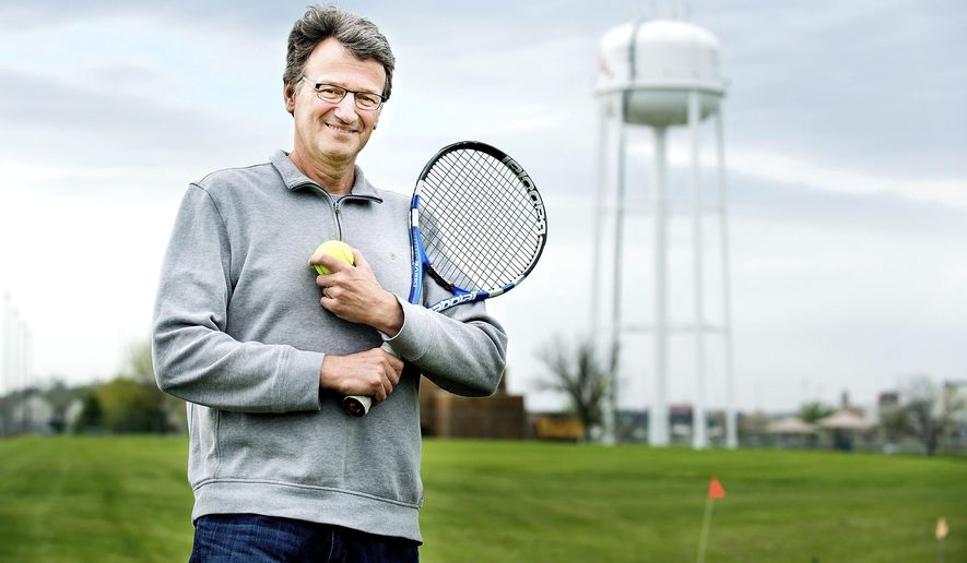 Wes Michaelson, president of the Siouxland Tennis Association, poses for a photo at the proposed site of a recreation center in South Sioux City, Neb. on Monday, April 24, 2017.  (Justin Wan/Sioux City Journal via AP)