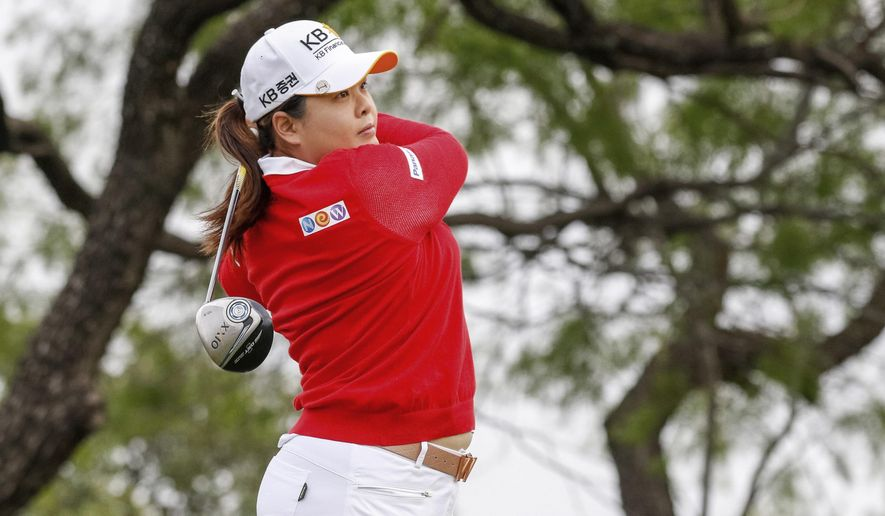 Inbee Park, of South Korea, tees off on the first hole during the second round of the North Texas LPGA Shootout golf tournament at Las Colinas Country Club in Irving, Texas, Friday, April 28, 2017. (Ray Carlin/Star-Telegram via AP)