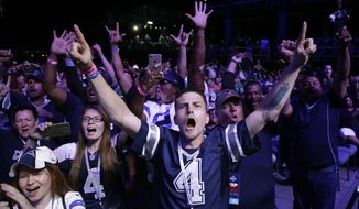 Dallas Cowboys fans cheer during the second round of the 2017 NFL football draft, Friday, April 28, 2017, in Philadelphia. (AP Photo/Matt Rourke)