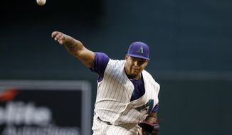 Arizona Diamondbacks' Taijuan Walker throws a pitch against the San Diego Padres during the first inning of a baseball game Thursday, April 27, 2017, in Phoenix. (AP Photo/Ross D. Franklin)