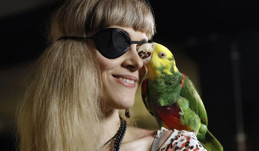 FILE - In this Oct. 29, 2016, file photo, Karen Pease a supporter of Iceland's Pirate Party arrives with her parrot named Mal at the Pirate Party election party in Reykjavik, Iceland. The U.S. Pirate Party is linked to Pirate Party International, which claims affiliates in nearly 70 countries. The Massachusetts Pirate Party is looking to draft candidates to run for political office holding its annual conference in Boston Saturday. (AP Photo/Frank Augstein)