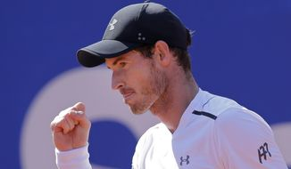 Andy Murray of Britain reacts during his match against Albert Ramos-Vinolas of Spain in a quarterfinal match at the Barcelona Open Tennis Tournament in Barcelona, Spain, Friday, April 28, 2017. (AP Photo/Manu Fernandez)