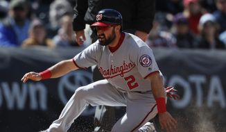 Washington Nationals center fielder Adam Eaton (2) in the seventh inning of a baseball game Thursday, April 27, 2017, in Denver. Washington won 16-5. (AP Photo/David Zalubowski) **FILE**