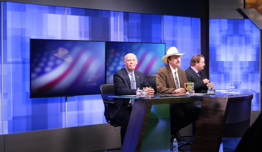 CHANGES CITY TO GREAT FALLS  The three candidates, Republican Greg Gianforte, from left, Democrat Rob Quist and Libertarian Mark Wicks vying to fill Montana's only congressional seat await the start of the only televised debate ahead of the May 25 special election, Saturday, April 29, 2017, in Great Falls, Mont.  (AP Photo/Bobby Caina Calvan)