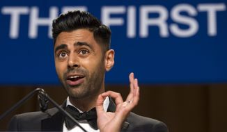 The Daily Show correspondent Hasan Minhaj entertains the guests at the White House Correspondents' Dinner in Washington, Saturday, April 29, 2017. (AP Photo/Cliff Owen)