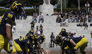 The Michigan football team attends a training session at Rome's Stadio Dei Marmi, Saturday, April 29, 2017. (AP Photo/Alessandra Tarantino)