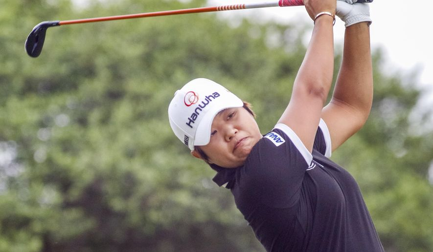 Haru Nomura tees off on the second hole during the third round of the LPGA golf tournament, Saturday, April 29, 2017, at Las Colinas Country Club in Irving, Texas. (Ray Carlin/Star-Telegram via AP)