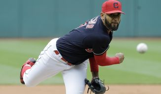 Cleveland Indians starting pitcher Danny Salazar delivers in the first inning of a baseball game against the Seattle Mariners, Saturday, April 29, 2017, in Cleveland. (AP Photo/Tony Dejak)