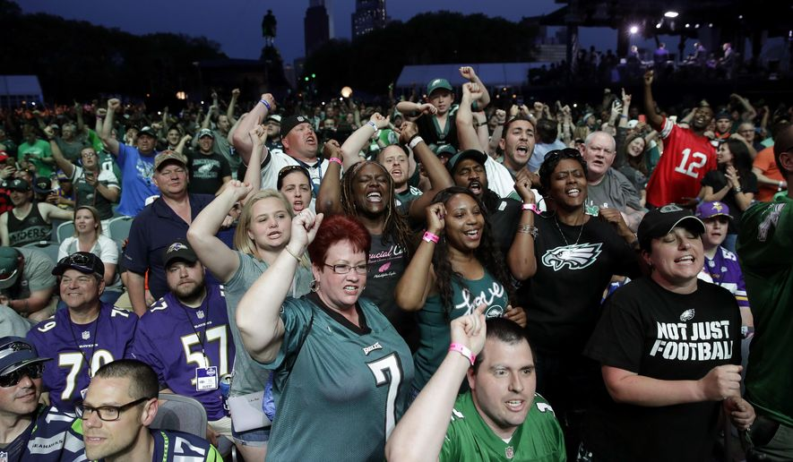 Philadelphia Eagles' fans cheer during the second round of the 2017 NFL football draft, Friday, April 28, 2017, in Philadelphia. (AP Photo/Matt Rourke)