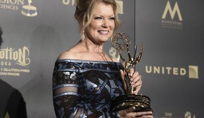 Mary Hart, winner of the lifetime achievement award, poses in the press room at the 44th annual Daytime Emmy Awards at the Pasadena Civic Center on Sunday, April 30, 2017, in Pasadena, Calif. (Photo by Richard Shotwell/Invision/AP)