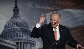 "In this Thursday, April 27, 2017, photo, Senate Minority Leader Chuck Schumer, of N.Y., speaks to reporters during a news conference on Capitol Hill in Washington. Schumer says the $1 trillion plan funding the government through September is a ""good agreement for the American people, and takes the threat of a government shutdown off the table."" (AP Photo/Manuel Balce Ceneta)"