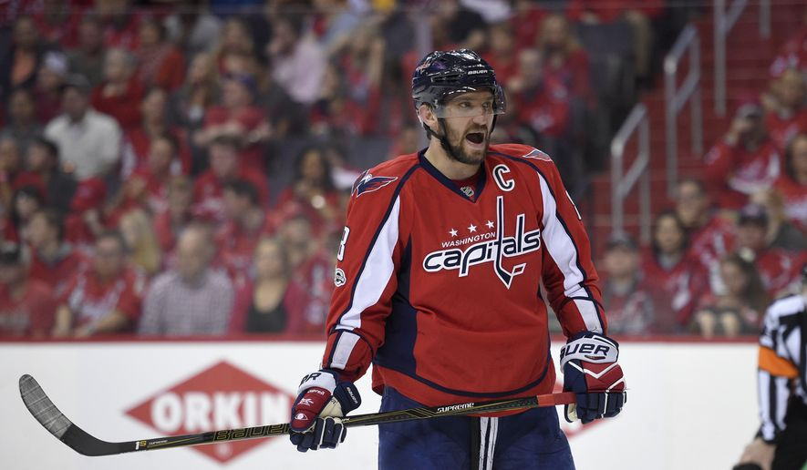 Washington Capitals left wing Alex Ovechkin (8), of Russia, looks on during the first period of Game 2 in an NHL hockey Stanley Cup second-round playoff series against the Pittsburgh Penguins, Saturday, April 29, 2017, in Washington. (AP Photo/Nick Wass) **FILE**