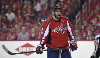 Washington Capitals left wing Alex Ovechkin (8), of Russia, looks on during the first period of Game 2 in an NHL hockey Stanley Cup second-round playoff series against the Pittsburgh Penguins, Saturday, April 29, 2017, in Washington. (AP Photo/Nick Wass)