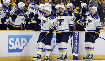 St. Louis Blues left wing Alexander Steen (20) celebrates after scoring a goal against the Nashville Predators during the second period in Game 3 of a second-round NHL hockey playoff series Sunday, April 30, 2017, in Nashville, Tenn. (AP Photo/Mark Humphrey)