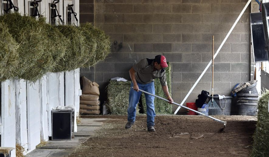 Barn worker Jose Cesada, an immigrant worker in the United States on an H-2B visa, rakes the cool down path at the barn of trainer Dale Romans on the backside at Churchill Downs, Wednesday, April 19, 2017, in Louisville, Ky. The horse racing industry, dependent on immigrant workers, is facing a shortage of manpower due to a shortage of visas being issued. (AP Photo/Timothy D. Easley) ** FILE **
