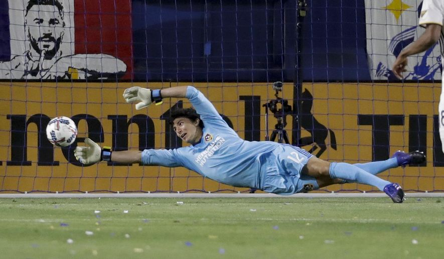 LA Galaxy goalkeeper Brian Rowe makes a save against the Philadelphia Union during the second half of an MLS soccer match in Carson, Calif., Saturday, April 29, 2017. (AP Photo/Chris Carlson)