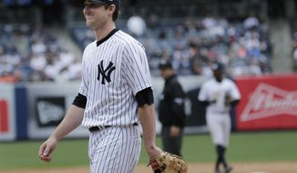 New York Yankees relief pitcher Bryan Mitchell plays first base during the 10th inning of the baseball game against the Baltimore Orioles at Yankee Stadium, Sunday, April 30, 2017, in New York. The Orioles defeated the Yankees in extra innings 7-4. (AP Photo/Seth Wenig)