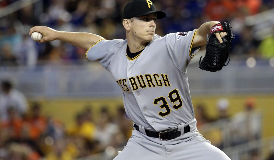 Pittsburgh Pirates starting pitcher Chad Kuhl (39) throws during the first inning of a baseball game against the Miami Marlins, Sunday, April 30, 2017, in Miami. (AP Photo/Lynne Sladky)
