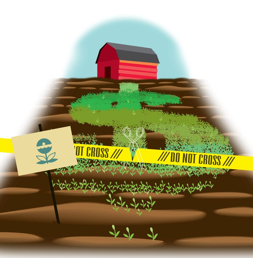 Illustration on the EPA's threats to private property rights by Linas Garsys/The Washington Times
