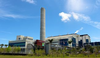 The Solid Waste Authority of Palm Beach County. Renewable Energy Facility No. 2 is located in West Palm Beach, Florida. The plant processes up to 1 million tons of post-recycled municipal solid waste per year while producing enough power for 44,000 homes. Image courtesy of Babcock & Wilcox.