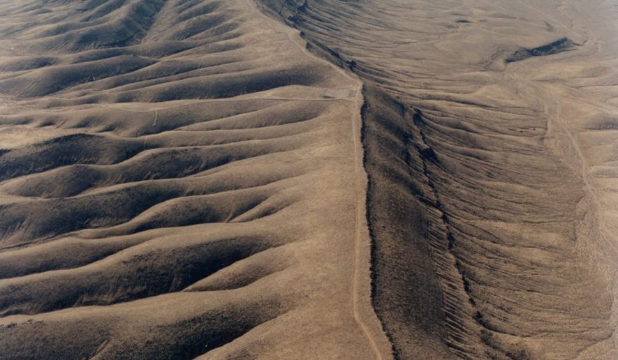 Aerial view of north end of the Yucca Mountain crest in February 1993. Image courtesy of Department of Energy.