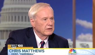 "Chris Matthews of MSNBC's ""Hardball"" told ""Meet the Press"" host Chuck Todd on April 30, 2017, that Democrats have moved ""too far to the left."" (NBC screenshot)"