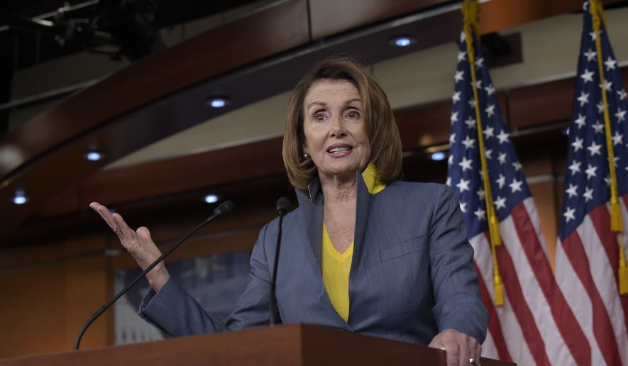 In this March 23, 2017, file photo, House Minority Leader Nancy Pelosi of Calif. speaks during a news conference on Capitol Hill in Washington. (AP Photo/Susan Walsh, File)