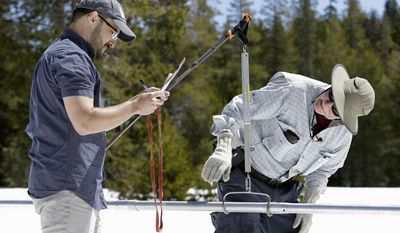 Frank Gehrke, right, chief of the California Cooperative Snow Surveys Program for the Department of Water Resources, checks the snowpack weight on a scale held by DWR's Wes McCandless, while doing the manual snow survey at Phillips Station, Monday, May 1, 2017, near Echo Summit, Calif. (AP Photo/Rich Pedroncelli)