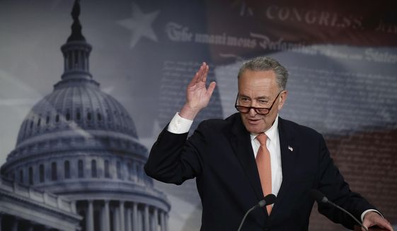Senate Minority Leader Charles E. Schumer, New York Democrat. (Associated Press) ** FILE **