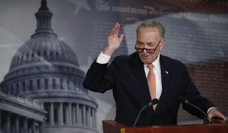 Senate Minority Leader Charles E. Schumer, New York Democrat, could not find any major loss for his party in the $1 trillion plan to fund the government through September. (Associated Press)