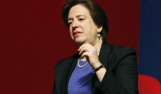 FILE - In this Dec. 15, 2014, file photo, Supreme Court Justice Elena Kagan speaks in Oxford, Miss. Kagan is scheduled to visit Indianapolis Monday, May 1, 2017, for a speech before an audience of lawyers and federal judges. (AP Photo/Rogelio V. Solis, File)