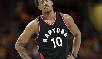 Toronto Raptors' DeMar DeRozan looks up in the second half in Game 1 of a second-round NBA basketball playoff series against the Cleveland Cavaliers, Monday, May 1, 2017, in Cleveland. The Cavaliers won 116-105. (AP Photo/Tony Dejak)