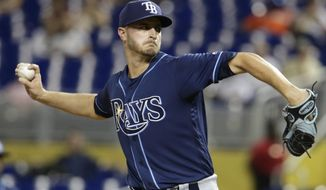Tampa Bay Rays starting pitcher Jake Odorizzi throws during the first inning of an interleague baseball game against the Miami Marlins, Monday, May 1, 2017, in Miami. (AP Photo/Lynne Sladky)