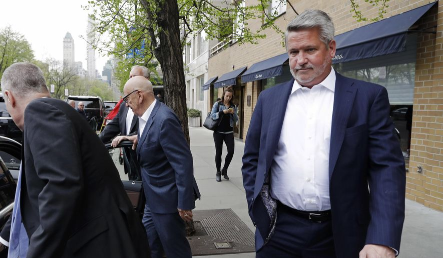 In this April 24, 2017 photo, Fox News co-president Bill Shine, right, leaves a New York restaurant with Rupert Murdoch, second from right, the executive chairman of 21st Century Fox. The turmoil at Fox News Channel has claimed another victim. The network said Monday, May 1, that Shine, a longtime lieutenant of ousted Fox News CEO Roger Ailes, is out. (AP Photo/Mark Lennihan)