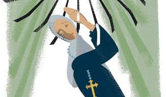 Illustration on the persecution of Christians as a human rights issue by Linas Garsys/The Washington Times
