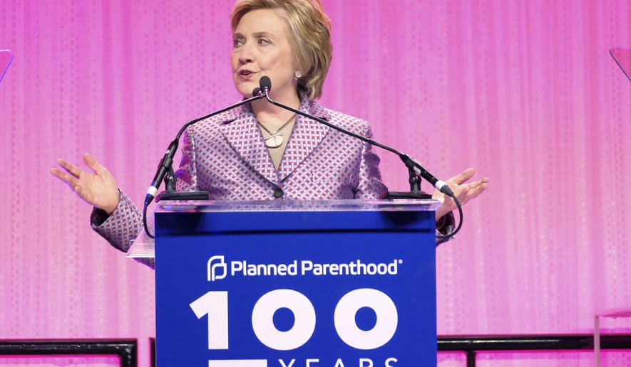 Honoree former Secretary of State Hillary Clinton speaks at the Planned Parenthood 100th Anniversary Gala on Tuesday, May 2, 2017, in New York. (Photo by Charles Sykes/Invision/AP)