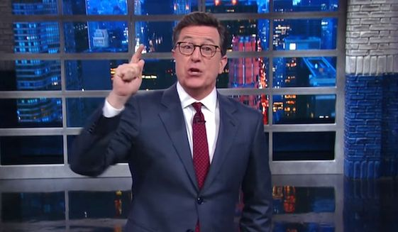 "CBS ""The Late Show"" host Stephen Colbert gave a vulgar monologue involving gay sex on May 1, 2017, to criticize President Donald Trump and Russian President Vladimir Putin. (CBS ""The Late Show"" screenshot)"