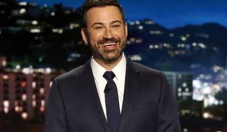 "Jimmy Kimmel appears during a taping of ""Jimmy Kimmel Live,"" in Los Angeles, April 11, 2017. The host  Kimmel says his newborn son is home and doing great after open-heart surgery. A tearful Kimmel turned his show's monologue Monday, May 1, into an emotional recounting of the crisis with what Kimmel called a ""happy ending.""  (Randy Holmes/ABC via AP) ** FILE **"