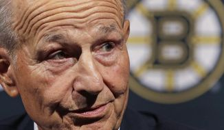 Boston Bruins NHL hockey team owner Jeremy Jacobs speaks during a news conference to reflect on this past season, Tuesday, May 2, 2017, in Boston. The Bruins made it back to the playoffs for the first time in three seasons before losing to the Ottawa Senators. (AP Photo/Elise Amendola)
