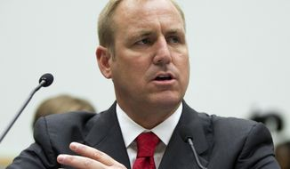 FILE - In this July 23, 2013 file photo, Rep. Jeff Denham, R-Calif., testifies at a hearing on Capitol Hill in Washington. Moderate Republicans face intense pressure on their party's latest attempt to scrap Democrat Barack Obama's health care law, from President Donald Trump, House GOP leaders, medical professionals and outside political groups. If the GOP bill became law, congressional analysts estimate that 24 million more Americans would be uninsured by 2026, including 14 million by next year. (AP Photo/Evan Vucci, File)