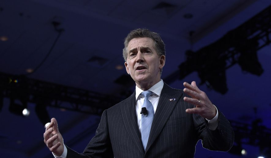 Former South Carolina Sen. Jim DeMint speaks at the Conservative Political Action Conference (CPAC) in Oxon Hill, Md., on Feb. 23, 2017. (Associated Press) ** FILE **
