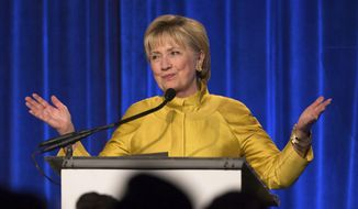 FILE - In this April 20, 2017 file photo, former Secretary of State Hillary Clinton speaks in New York. Clinton said Tuesday, May 2, 2017, that she's taking responsibility for her 2016 election loss but believes misogyny, Russian interference and questionable decisions by the FBI also influenced the outcome. (AP Photo/Kevin Hagen, File)