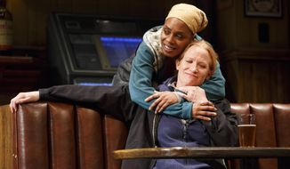 "This image released by Boneau/Bryan-Brown shows, Michelle Wilson, left, and Johanna Day during a performance of Lynn Nottage's play, ""Sweat,"" at Studio 54 in New York. The play, which was awarded the Pulitzer Prize for drama on April 10, is a likely contender for a Tony Award for best play. Tony Award nominations will be announced on Tuesday, May 2, 2017. (Joan Marcus/Boneau/Bryan-Brown via AP)"