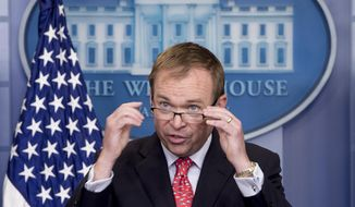Budget Director Mick Mulvaney speaks to the media during the daily press briefing at the White House in Washington, Tuesday, May 2, 2017, in Washington. (AP Photo/Andrew Harnik)