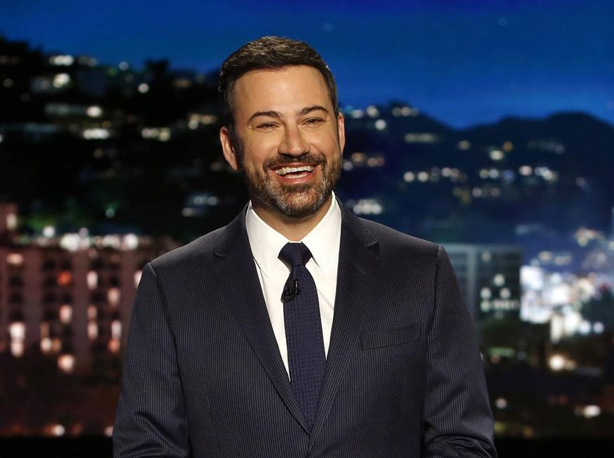 "In this April 11, 2017, photo, host Jimmy Kimmel appears during a taping of ""Jimmy Kimmel Live,"" in Los Angeles. Kimmel says his newborn son is home and doing great after open-heart surgery. A tearful Kimmel turned his show's monologue Monday, May 1, into an emotional recounting of the crisis with what Kimmel called a ""happy ending."" (Randy Holmes/ABC via AP)"