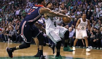 Washington Wizards forward Otto Porter Jr. (22) breaks up a drive to the basket by Boston Celtics guard Isaiah Thomas (4) during the second quarter of a second-round NBA playoff series basketball game in Boston, Tuesday, May 2, 2017. (AP Photo/Charles Krupa)