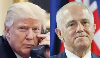 This combination of file photos shows, from left to right: U.S. President Donald Trump on Jan. 28, 2017, and Australian Prime Minister Malcolm Turnbull on Nov. 20, 2016. Turnbull said he and President Donald Trump will focus on North Korea, security and economic issues when they meet for the first time this week in New York on Thursday, May 4, 2017. (AP Photo/Alex Brandon, Pablo Martinez Monsivais Files)