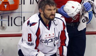 Washington Capitals' Alex Ovechkin sits on the bench during the first period of Game 4 in an NHL Stanley Cup Eastern Conference semifinal hockey game against the Pittsburgh Penguins in Pittsburgh, Wednesday, May 3, 2017. The Penguins won 3-2. (AP Photo/Gene J. Puskar)
